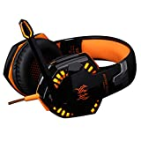 Libobo-001 Gaming Headset, 50Mm Driver Unit, Breathable Earmuffs, Noise-Reducing Surround Sound, Lightweight Type with 3.5Mm Jack Compatibility,Orange