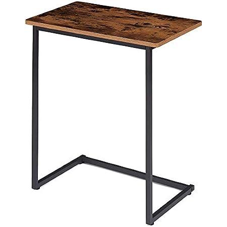 EKNITEY サイドテーブル ソファ ナイトテーブル コ字型 広い天板 パソコン コーヒーテーブル 多機能 省スペース インストールが簡単 幅60x奥行35x高さ67cm 質感良い ヴィーンテージ