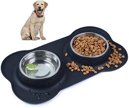 SeeKool Pet Comedero para Perro Gato y Mascotas de Acero Inoxidable, con Comedero Plegable, Base de Silicona Antideslizante, 2 Cuencos Comedero para Comida y Agua, Perros Grande/Medianos y Gatos (M)
