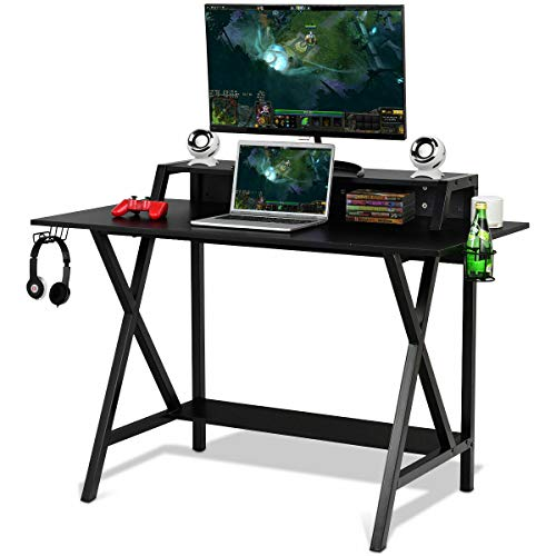 Tangkula Gaming Computer Desk with Monitor Shelf, Gaming Table Workstation with Cup Holder Headphone Holder & Built-in Power Strip, Computer Workstation Writing Desk Home Office Desk, Black