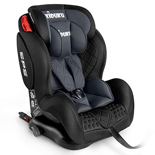 KIDUKU® Kindersitz Autokindersitz mit ISOFIX | Kinderautositz | Autositz mitwachsend | universal | zugelassen nach ECE R44/04 | 9 kg - 36 kg 1-12 Jahre | Gruppe 1/2/3 (Grau)