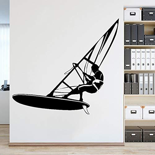 mlpnko Windsurfen Windsurfen Marine Mode Stil Wandaufkleber Kinderzimmer Badezimmer Wandbild 56X56cm