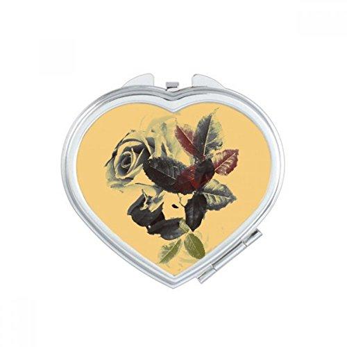 DIYthinker Couleur de l'eau Les Feuilles des Plantes Fleur Rose Coeur Miroir Maquillage Compact Portable Mignon Miroirs de Poche à la Main Cadeau Multicolore
