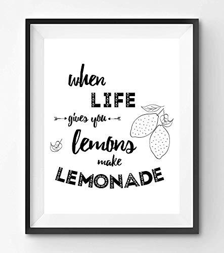 Tekenen wanneer het leven geeft u citroenen maken limonade citaat afdrukken handletter moderne poster typografie kunst leven citaat poster grappige citaat afdrukbaar