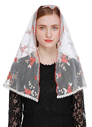 Pamor Vintage Inspired Floral Lace Chapel Veil D Shape Mantilla Veils Latin Scarf for Mass (White and Red)