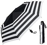 RainStoppers 44' Auto/Auto Black & White Stripe Print Super Mini Umbrella (W033)