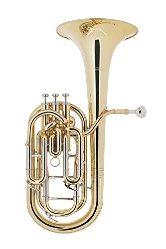 Classic Cantabile BH-1130L Baritonhorn - aus Messing, lackiert - Stimmung: Bb - Durchmesser Schallbecher: 243 mm - Bohrung: 13 mm - 3 Pumpventile - inkl. Koffer und Mundstück
