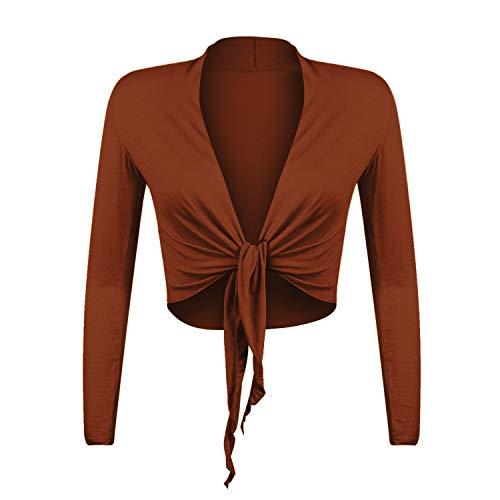 Gloop Bolero para mujer, elegante, de manga larga, con nudos. rojo coral M