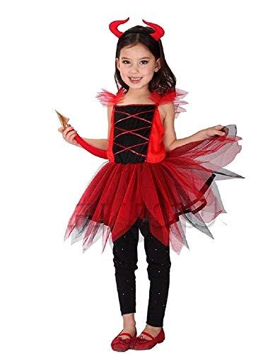 Teufelsjurk voor meisjes bestaande uit tule kostuum met hert en Coda Simpatica Idea bekleding Recita Speakel Cosplay Taglia XL - 7-8 anni Rood