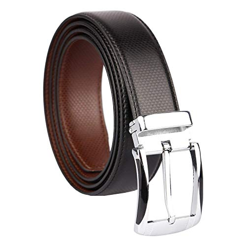 CLUB SPUNKY Men's Faux Leather Belt (CSBT-PRNT-BLBR-1001_Brown)