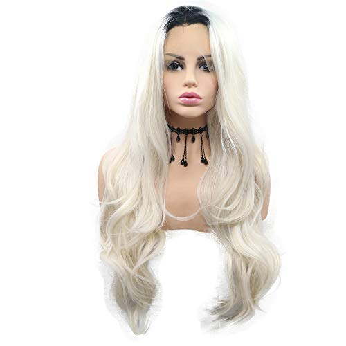 Black to White 2T Ombre Natural Wave Synthetic Lace Front Wigs Dark Roots 180% Density Heat Resistant Fiber Hair for Women