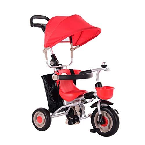 GYF Passeggino per ,Lo Schienale Lungo È Rimovibile Bambini Triciclo 4 in 1 Triciclo Passeggino per Bambini Rosso Verde Marrone ( Color : Red )
