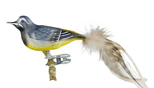 Thüringer Kerstmis 52-013 glazen vogel, bergplaatsen met natuurlijke veren