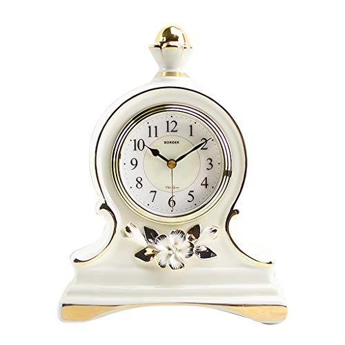 ZLDMYC Exquisito Cerámica Mesa Clock Mantle Desk Relojes Silent Cuarzo Tablero Relojes para Sala de Estar Dormitorio Decoración del hogar Creativo (Color : White-2)