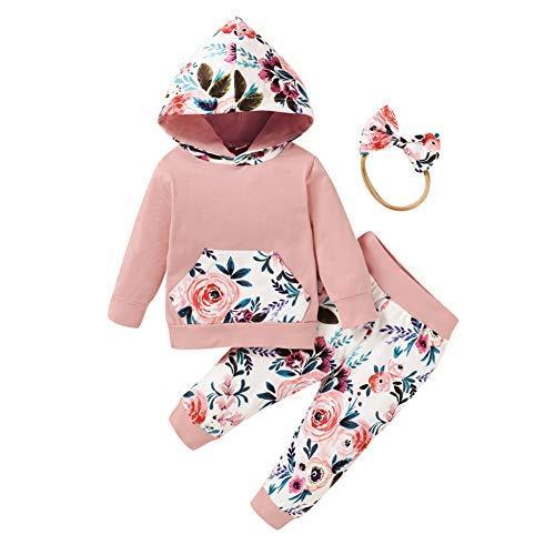 URMAGIC Chándal de manga larga con capucha y pantalón para niña Rosa....