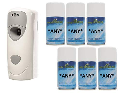 Wall Mounted Automatic Air Freshener Dispenser and 6 Refills auto Fresh Spray cans