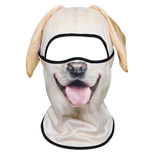 WTACTFUL 3D Animal Ears Balaclava Windproof Face Mask Cover Protection for Music Festivals Raves Halloween Party Riding Skiing Snowboarding Snowmobile Labrador Retriever MSS-04