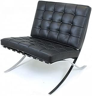 EMODERN FURNITURE eMod - Knoll Barcelona Chair Superior Craftsmanship Premium Aniline Leather Stainless Steel Frame (Black)