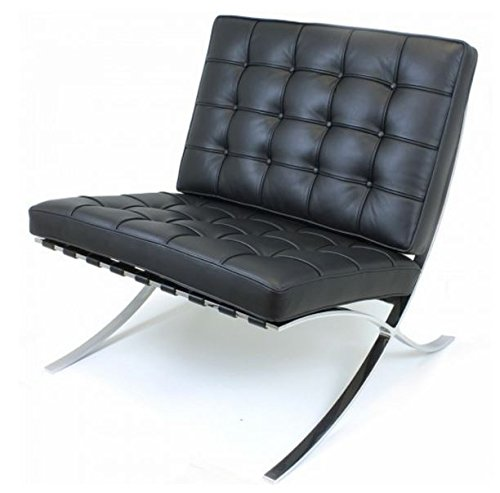 eMod - Knoll Barcelona Chair Superior Craftsmanship Premium Aniline Leather Stainless Steel Frame (Black)