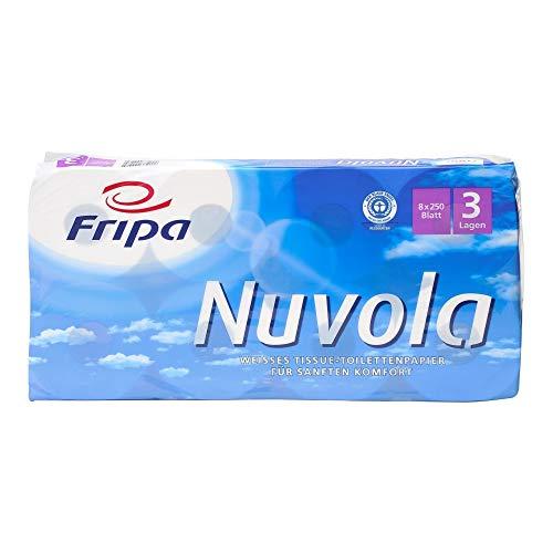 fripa Toilettenpapier 3-lagig, WC Papier Nuvola: 8 x 250 Blatt, 100% Recycling, weiß, 8 Stück