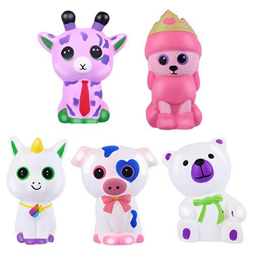 Juguete de descompresion,CHshe❤❤,5 unids Adorable Animales Slow Lising Crema,Squeeze Perfumado Stress Relief Juguete,Super lento aumento (Multicolor)