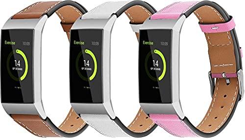 Classicase Quick Release - Compatible con Fitbit Charge 4 / Charge 4 SE/Charge 3 SE/Charge 3 Correas de Reloj Cuero (3-Pack G)
