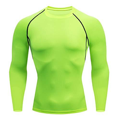 BEIXUNDIANZI T-Shirt Compression Homme Maillot Manches Longues Séchage Rapide Vetement de Fitness pour Football Jogging Cyclisme Running Course à Pied XL