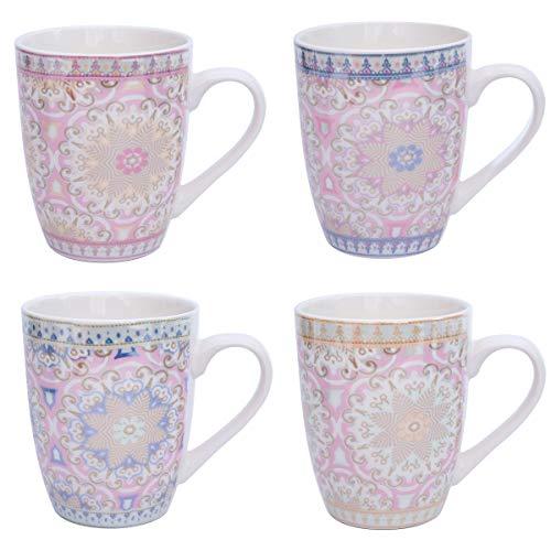 Flanacom Boho Kaffeetasse 4-er Set - Große Kaffee-Becher 300-ml im orientalischen Design - hochwertige Tee-Tassen mit feinem Druck - Spülmaschinenfeste Keramik - Geschenk für Frauen Mutter (Design 1)