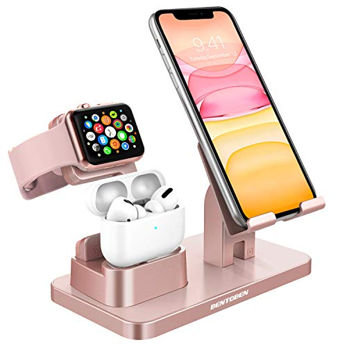 BENTOBEN Cell Phone Stand for Apple Watch, Charging Dock Phone and Watch Stand Holder for AirPods/AirPods Pro, iPhone 11/12 Pro/12 Pro Max, Apple Watch 5/4/3/2/1, iPad and Other Devices, Rose Gold