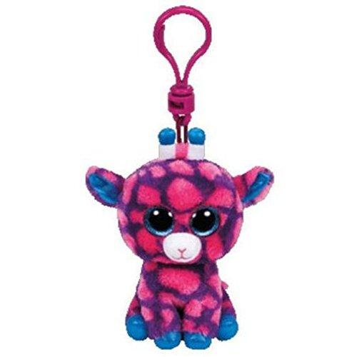Carletto Ty 36639 - Sky High Clip, giraf met glitterogen, Glubschi's, Beanie Boo's, 8,5 cm, roze/blauw