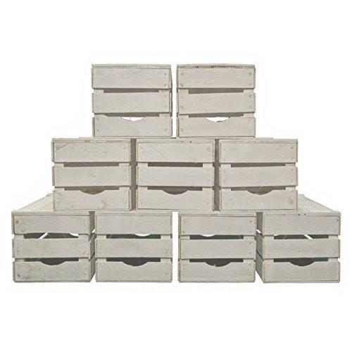 Set 9 Cassette Legno Frutta Nuove Resistenti colore bianco per scaffali e librerie 50x30x28