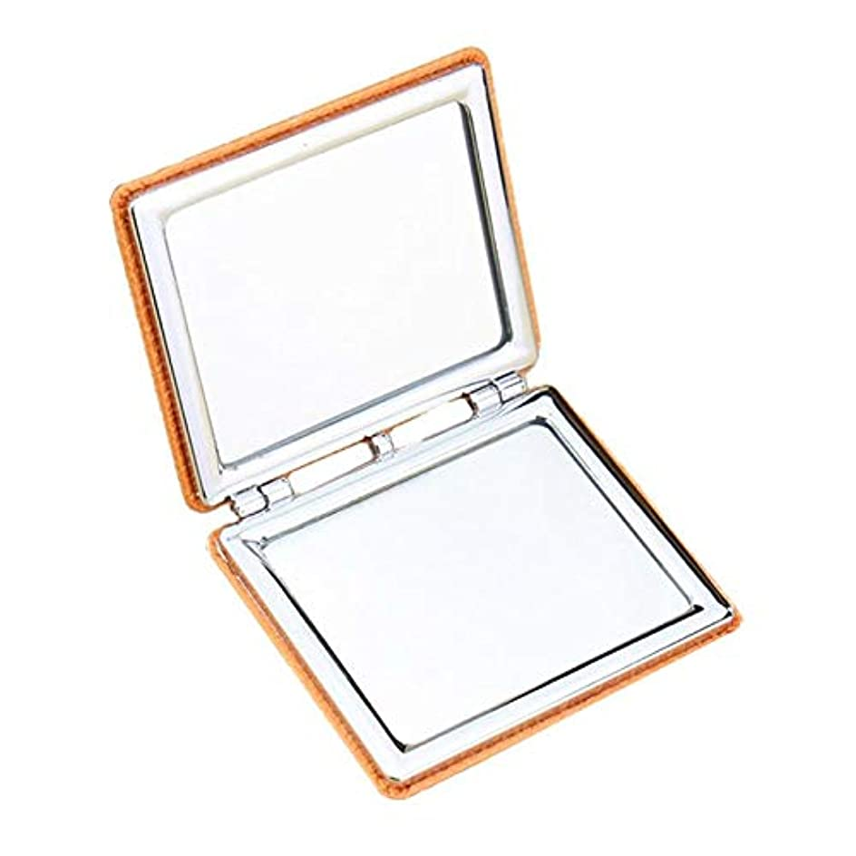 ナンセンス戻す一握り化粧鏡 ミラーダブルサイドレザー折りたたみ長方形メイクアップミラーミラー