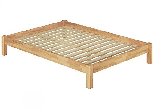 Erst-Holz® Futonbett Doppelbett Überlänge 140x220 Massivholzbett Buche Natur Rollrost 60.84-14-220