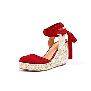 Womens Espadrille Wedge Sandals Closed Toe Platform Lace Up Ankle Wrap Slingback Sandals