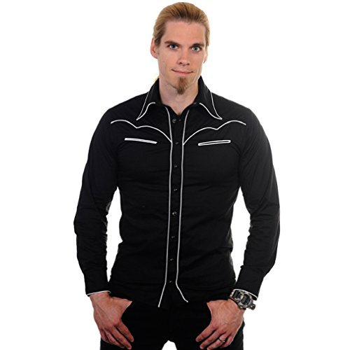 Banned - Camisa Casual - para Hombre Negro S