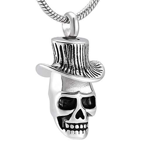 KBFDWEC Collar de urna de Calavera para Cenizas, medallón Colgante, Recuerdo de Acero Inoxidable, joyería de cremación Conmemorativa para Hombres y Mujeres