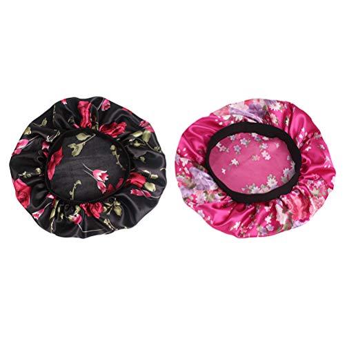 Lurrose 2 unids Sombrero de Gorro de Dormir de satén Banda Ancha Gorra de Noche Suave para Mujeres y Chicas