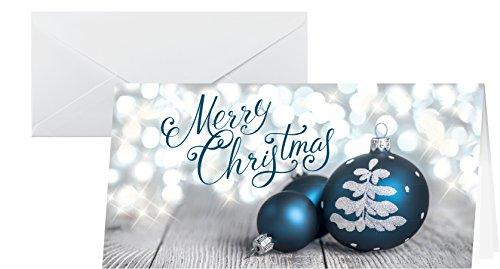 SIGEL DS058 biglietti di Natale in fantasia a palline blu, 25 pezzos