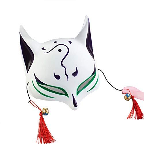 keland Máscara de Zorro Adulto máscara Facial niño japonés Kabuki Mascarada Disfraz máscara de Halloween Juego de rol (Verde)