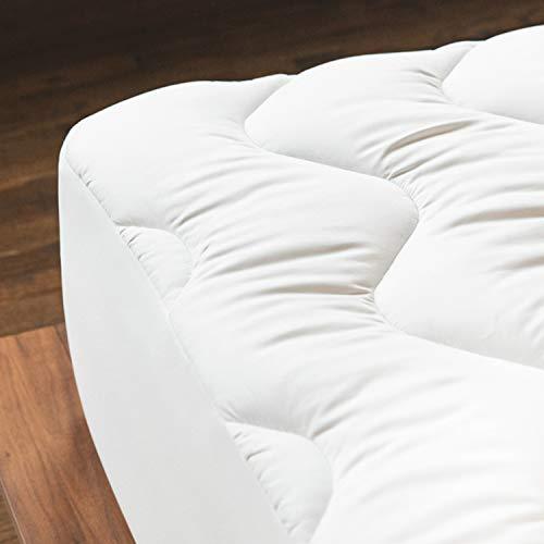 mello - Surmatelas Coton 160x200 cm   Housse 100% Coton Hypoallergénique Matelassée   surmatelas Pliable Format Drap Housse   Tissu Satin de Coton pour Un Confort Moelleux et Douillet   Lavable
