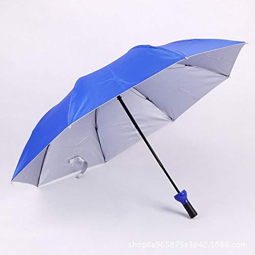 Viner nieuwe creatieve vrouwen wijnfles paraplu 3 opvouwbare zon-regen UV mini-paraplu voor dames heren geschenken regenkleding paraplu, koningsblauw
