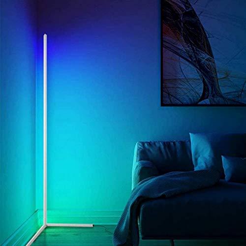 JAKROO LED Eck Stehlampe, RGB Farbwechsel Ecklampe Dimmbar Moderne LED Stehleuchte Mit Fernbedienung für Wohnzimmer Büro Farbwechsel Lichtsaeule Innenatmosphäre Lampe
