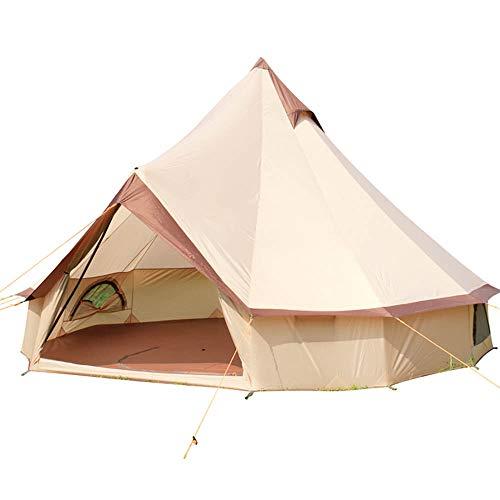 WZFC Camping Zelt,wasserdichtes Tipi Zelt 10 Mann Mongolisches Zelt Sonnensegel,für Gruppen, Camping, Outdoor, Glamping, beige