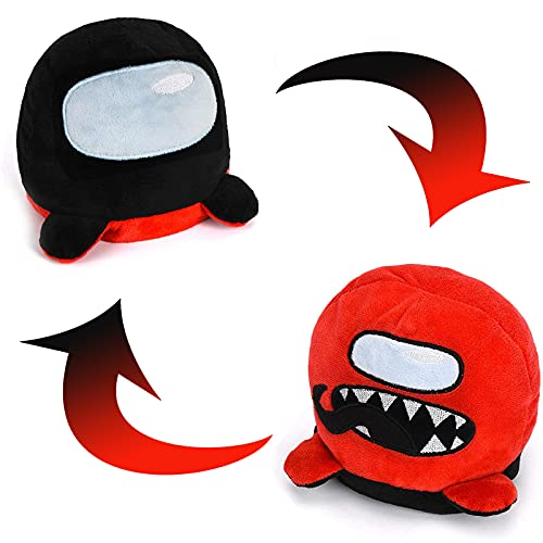 Tuhongee Among Us Reversible Plushie Toys,Double-Sided Flip Reversible Stuffed Animals Doll,Gifts Figure Toys for Game Fans,Creative-Red to Black…,6 inches