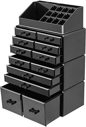 Femor Organisateur De Maquillage Boîte de Rangement Cosmétiques Tiroirs Acrylique Empilable, Combinable Coffret Présentoir Stockage pour Salle De Bain, Commode, Lavabo et Comptoir (Noir)