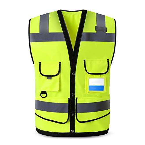 DBL Warnweste Mehrfachtaschen-Bauplatz-Arbeitskleidung Reflektierende Sicherheitsweste Reisen bei Nacht Hochbausicherheit Unisex Sicherheitswesten (Color : Fluorescent yellow, Size : XL)