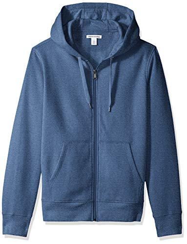 Amazon Essentials Men's Full-Zip Hooded Fleece Sweatshirt, Blue Heather, Medium
