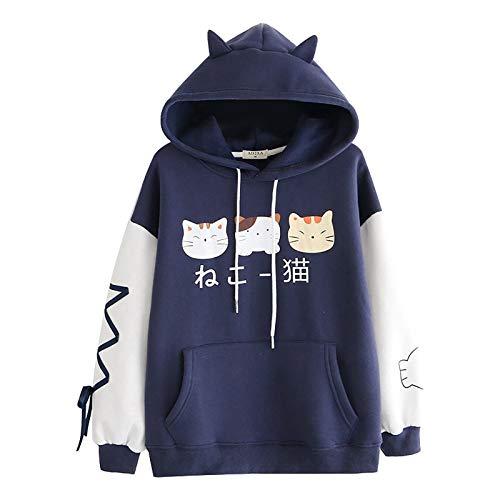 Sudadera con Capucha Diseño Creativo de Impresión de Gato de Dibujos Animados Casual Manga Larga Kawaii Sudaderas Adolescentes Chicas Tumblr Blusa Camisa con Bolsillos Top