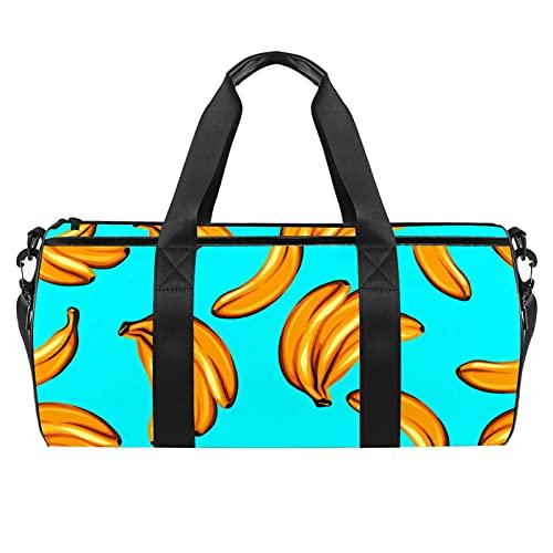 Blue Banana Gym Bag para hombres y mujeres Bolsas de fin de semana Deportes Viaje Duffel Bolsa con bolsillo impermeable