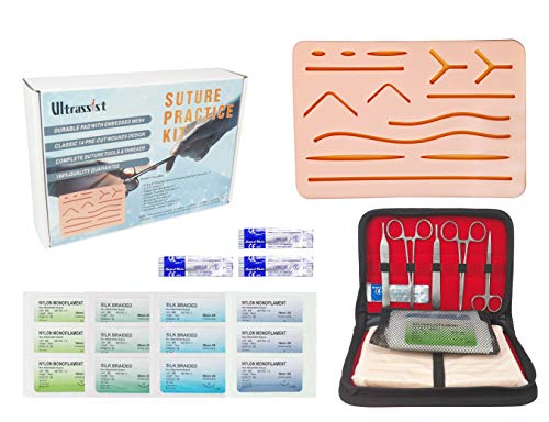 Complete Suture Practice Kit, Suture Training Kit for Medical or Vet Student, Includes Durable Pads with Embedded Mesh, Suture Tools & Threads, Needles for Residents & Med Dental Vet School Students